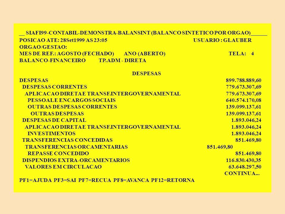 __ SIAFI99-CONTABIL-DEMONSTRA-BALANSINT (BALANCO SINTETICO POR ORGAO)______