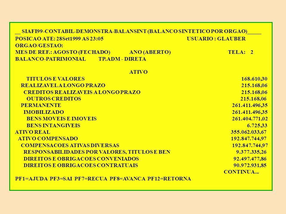 __ SIAFI99-CONTABIL-DEMONSTRA-BALANSINT (BALANCO SINTETICO POR ORGAO)_____