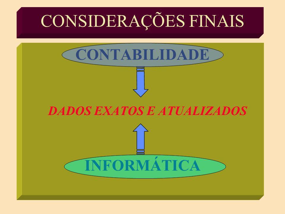 CONSIDERAÇÕES FINAIS CONTABILIDADE INFORMÁTICA
