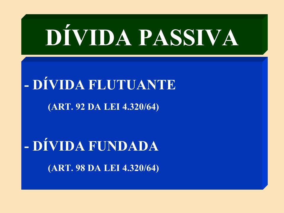 DÍVIDA PASSIVA - DÍVIDA FLUTUANTE (ART. 92 DA LEI 4.320/64)