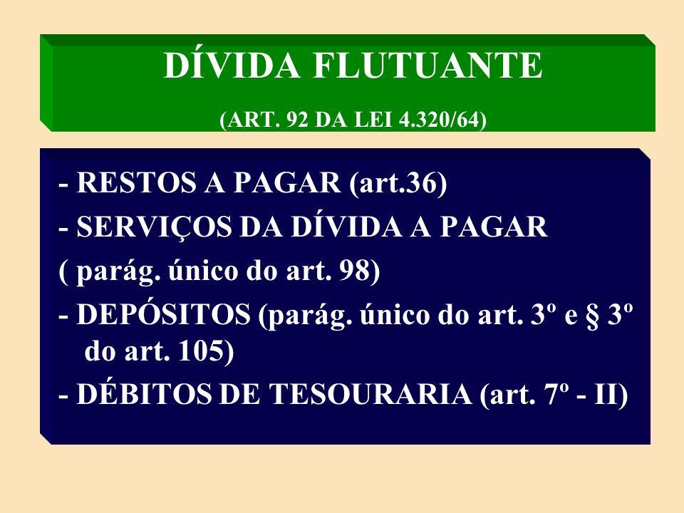 DÍVIDA FLUTUANTE (ART. 92 DA LEI 4.320/64)
