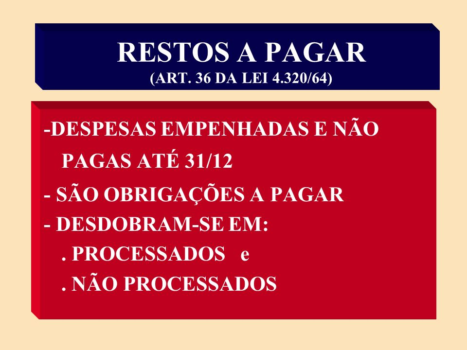 RESTOS A PAGAR (ART. 36 DA LEI 4.320/64)