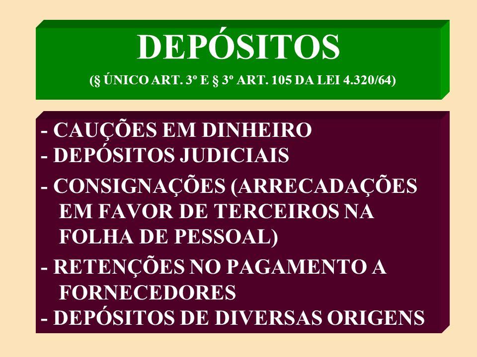 DEPÓSITOS (§ ÚNICO ART. 3º E § 3º ART. 105 DA LEI 4.320/64)