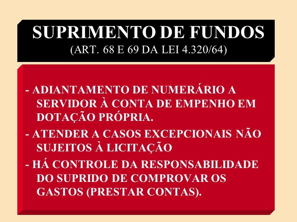 SUPRIMENTO DE FUNDOS (ART. 68 E 69 DA LEI 4.320/64)
