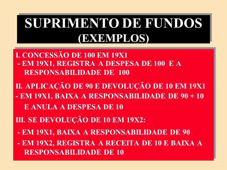 SUPRIMENTO DE FUNDOS (EXEMPLOS)