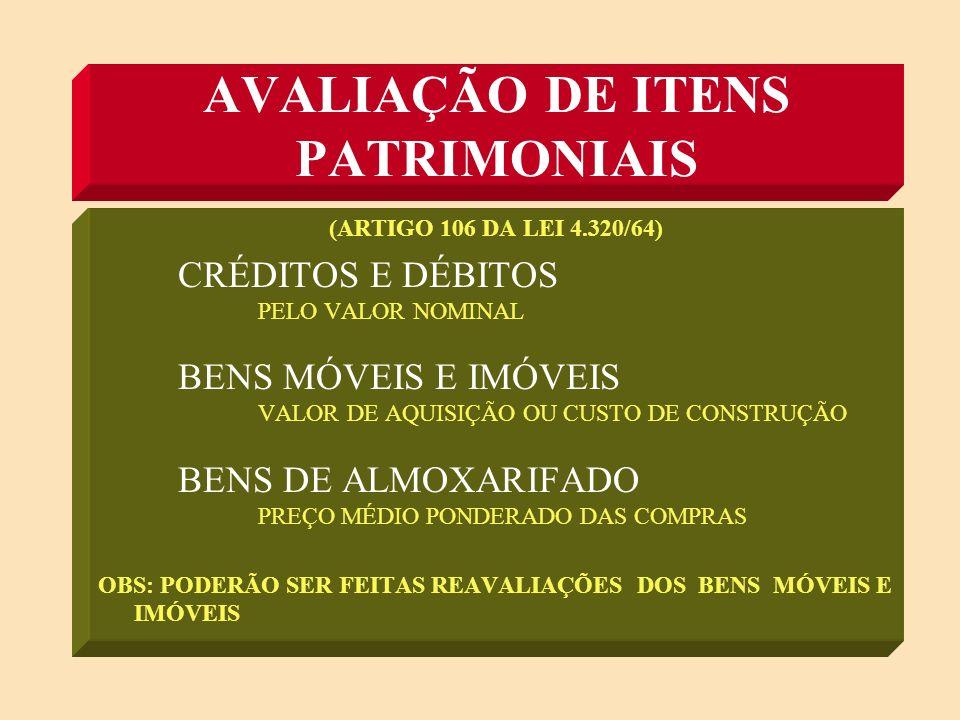 AVALIAÇÃO DE ITENS PATRIMONIAIS