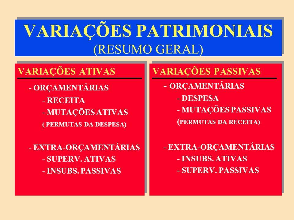 VARIAÇÕES PATRIMONIAIS (RESUMO GERAL)