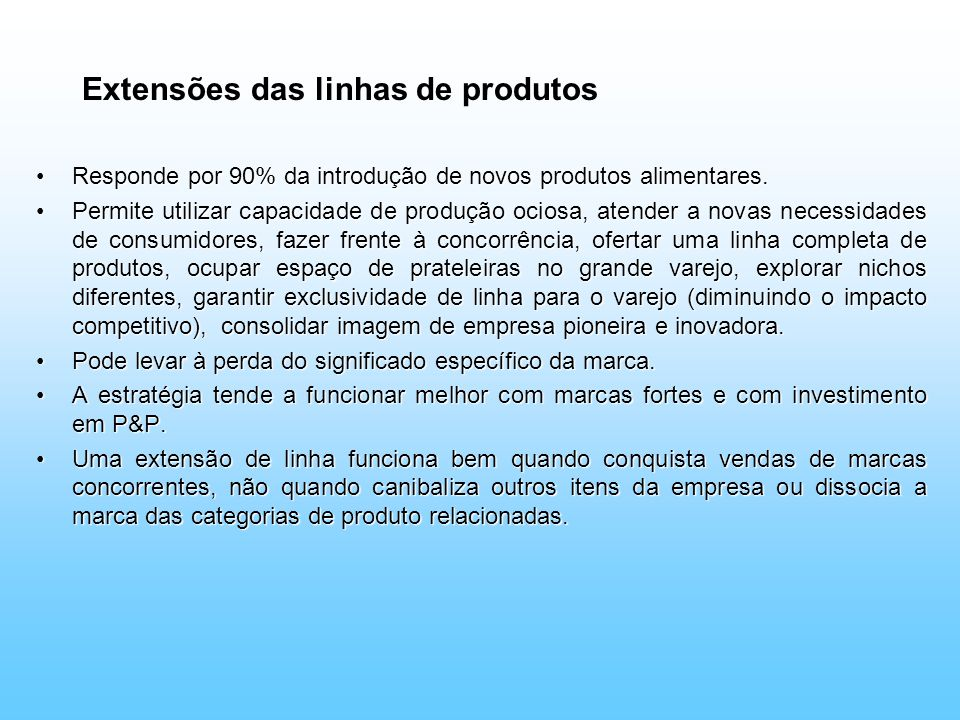 Extensões das linhas de produtos