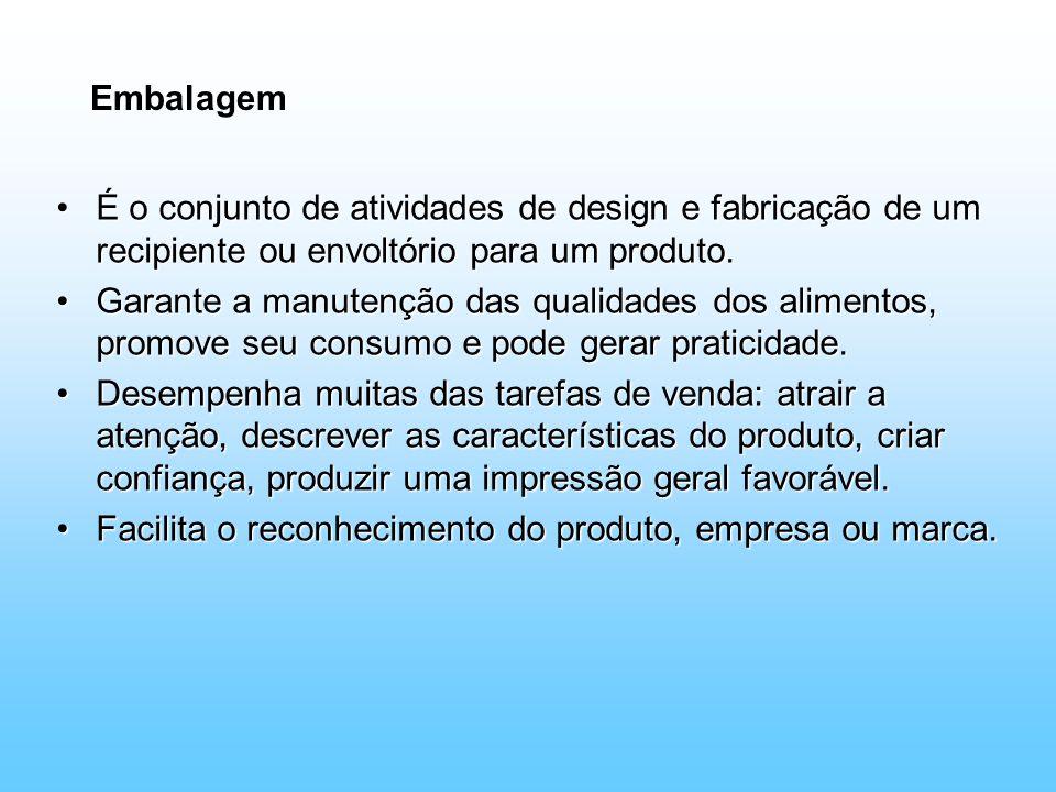 Embalagem É o conjunto de atividades de design e fabricação de um recipiente ou envoltório para um produto.