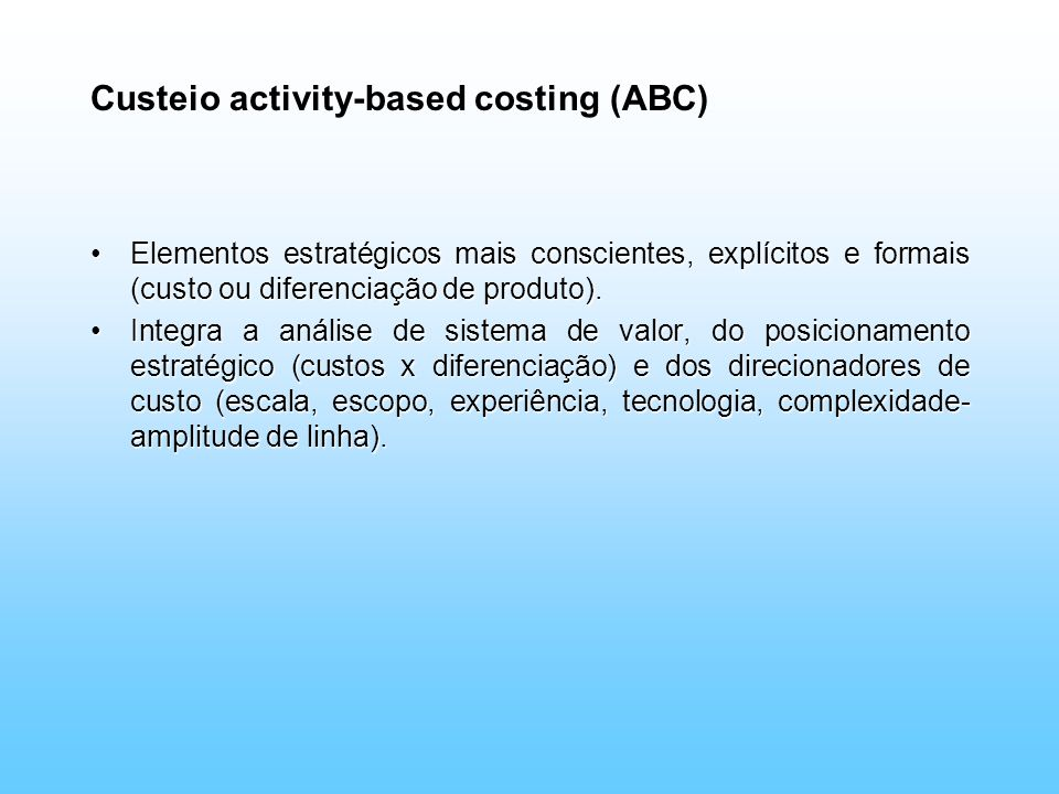 Custeio activity-based costing (ABC)