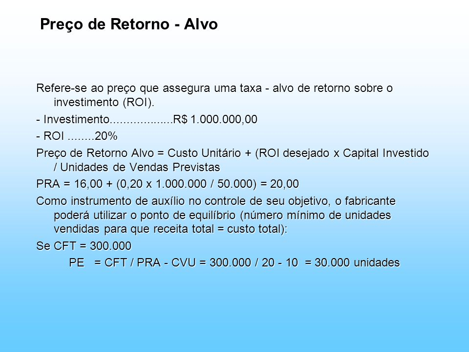 PE = CFT / PRA - CVU = 300.000 / 20 - 10 = 30.000 unidades