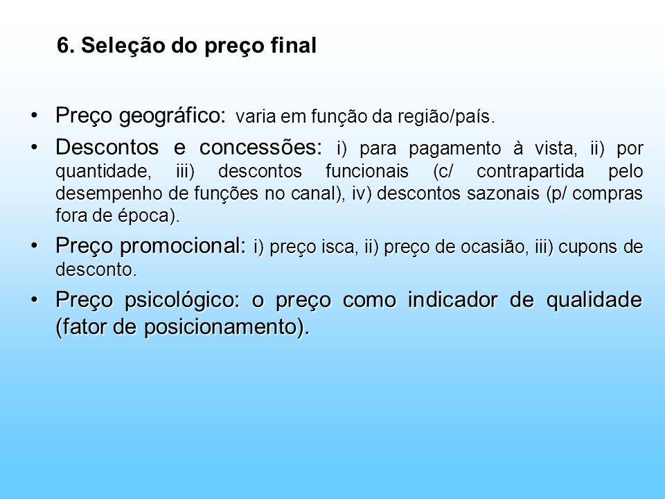 6. Seleção do preço final Preço geográfico: varia em função da região/país.