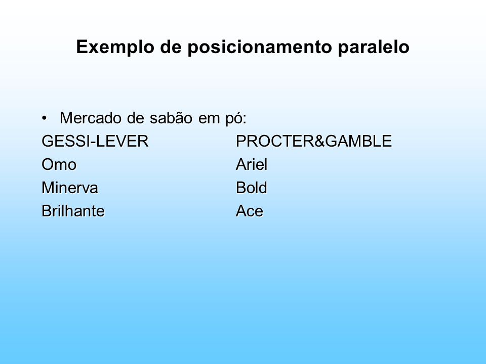 Exemplo de posicionamento paralelo