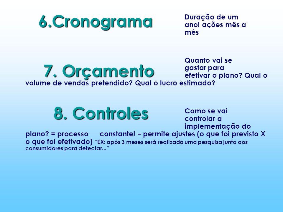 7. Orçamento 8. Controles 6.Cronograma