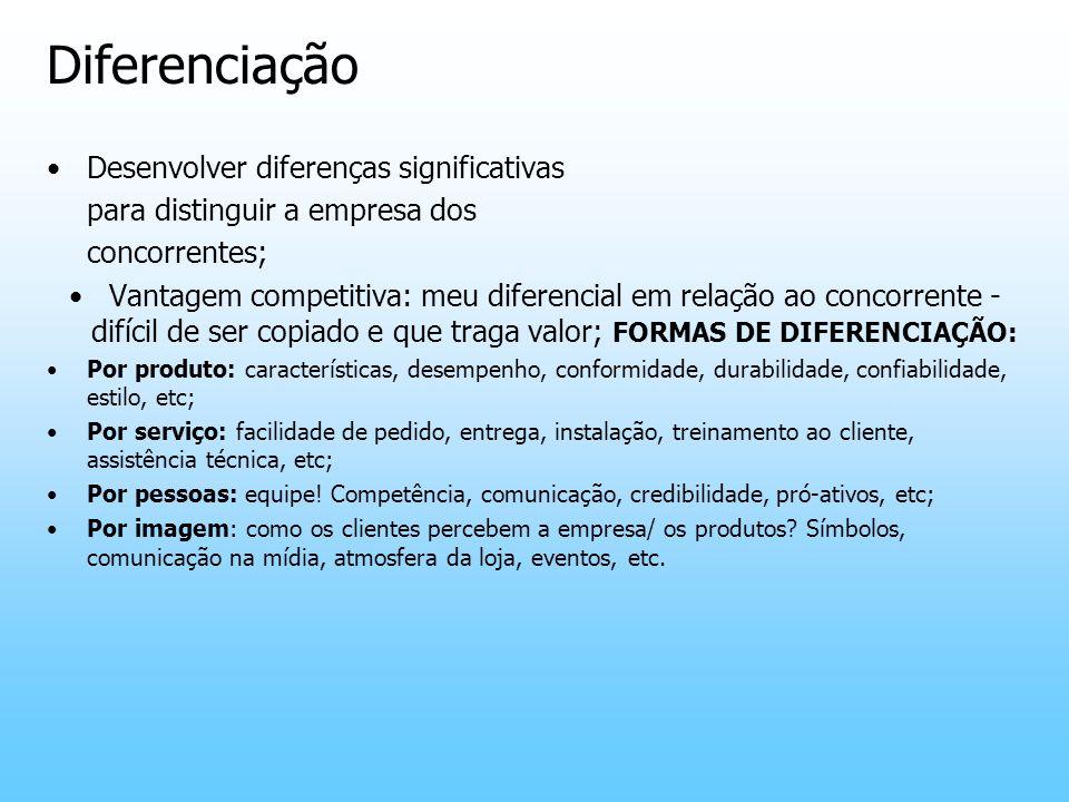 Diferenciação Desenvolver diferenças significativas