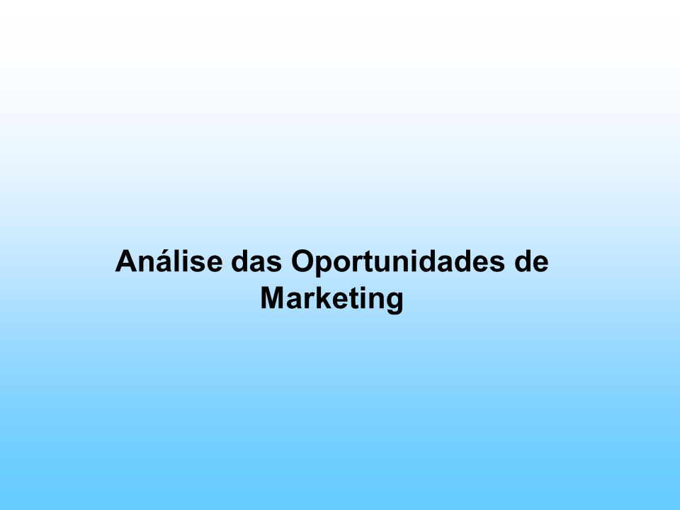 Análise das Oportunidades de Marketing
