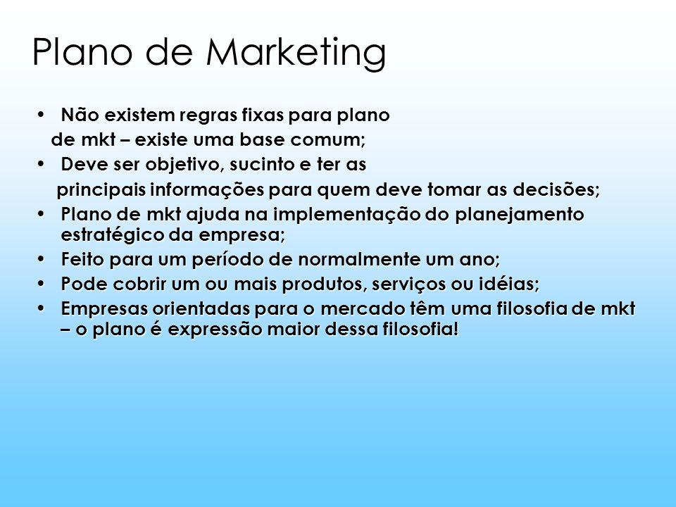 Plano de Marketing Não existem regras fixas para plano