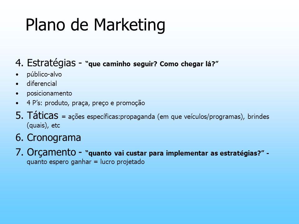 Plano de Marketing 4. Estratégias - que caminho seguir Como chegar lá público-alvo. diferencial.
