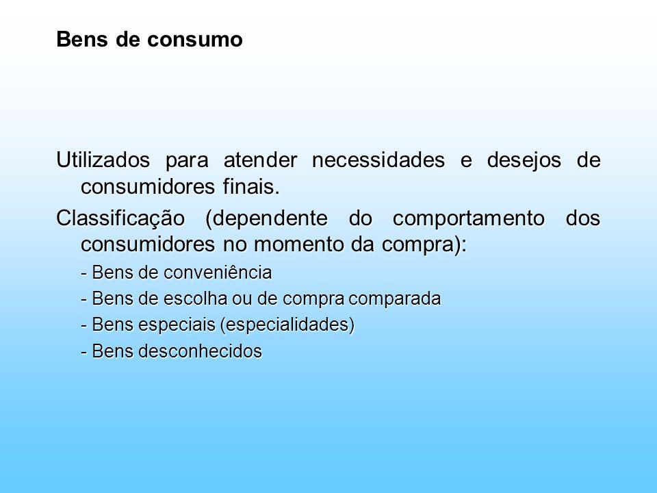 Utilizados para atender necessidades e desejos de consumidores finais.