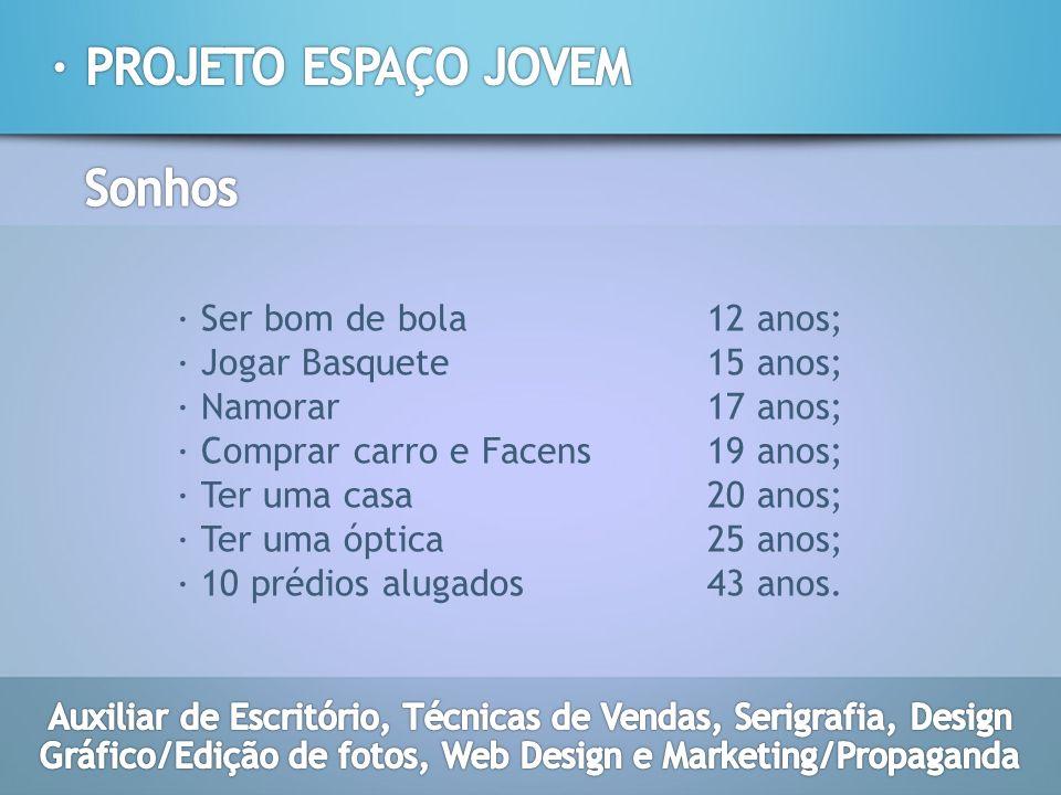 · PROJETO ESPAÇO JOVEM Sonhos · Ser bom de bola 12 anos;