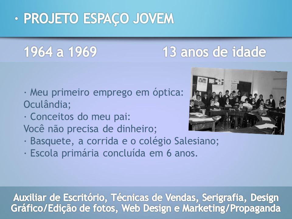· PROJETO ESPAÇO JOVEM 1964 a 1969 13 anos de idade