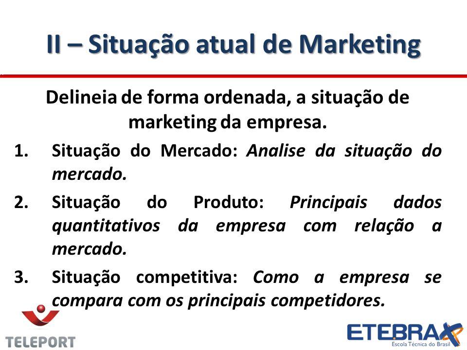 II – Situação atual de Marketing