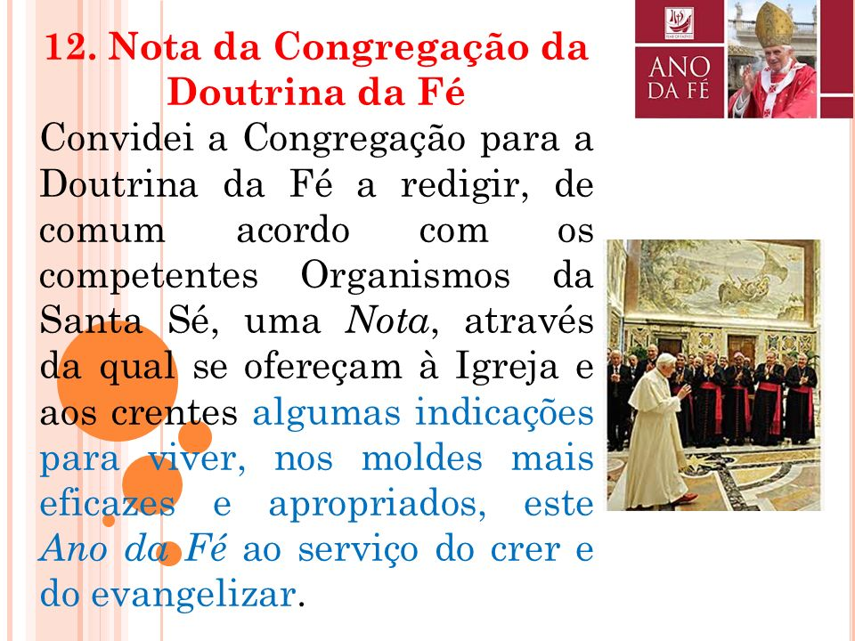 12. Nota da Congregação da Doutrina da Fé