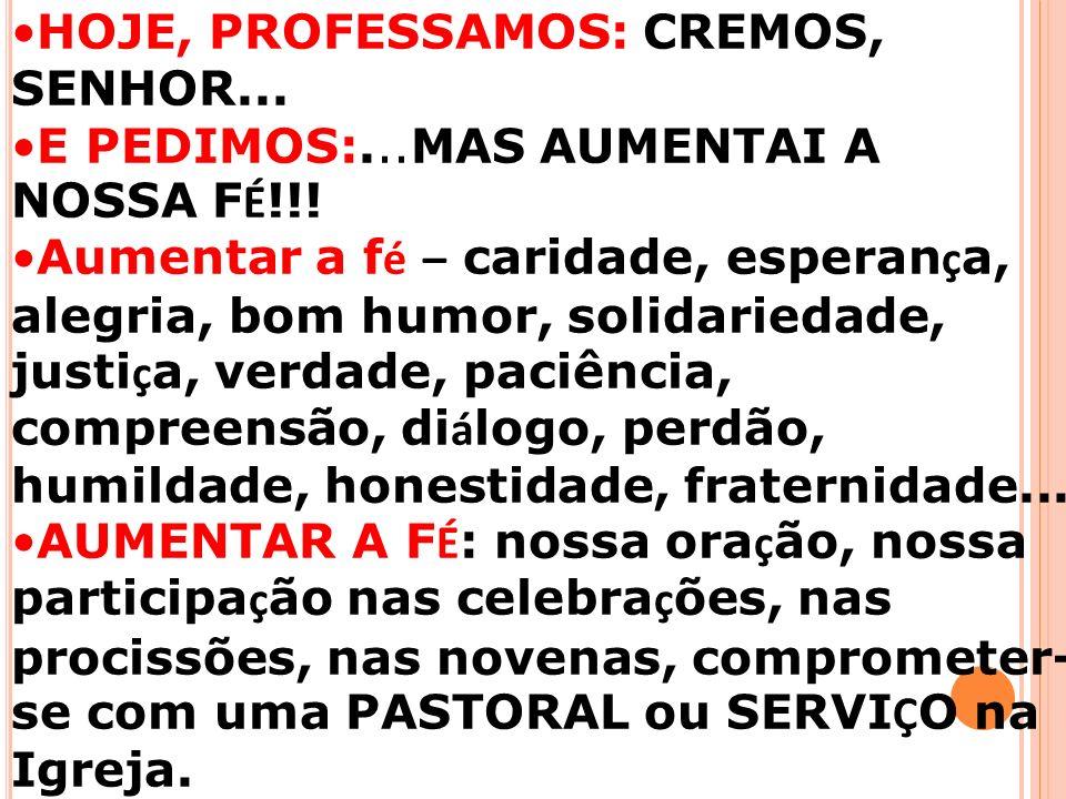 HOJE, PROFESSAMOS: CREMOS, SENHOR...