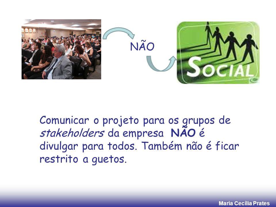 NÃO Comunicar o projeto para os grupos de stakeholders da empresa NÃO é divulgar para todos.