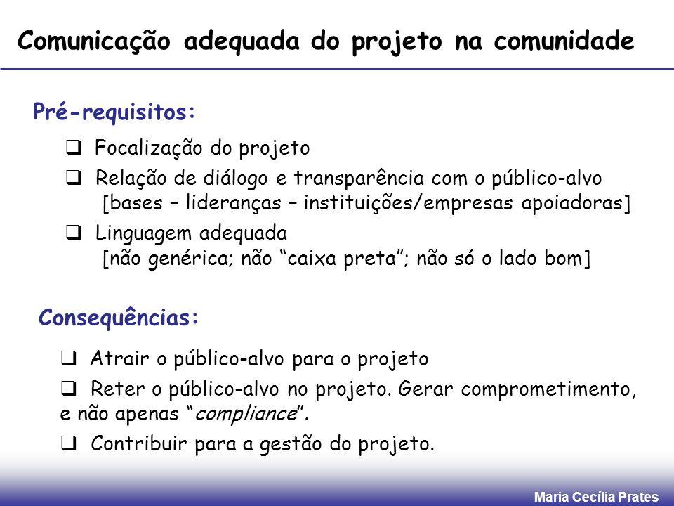 Comunicação adequada do projeto na comunidade