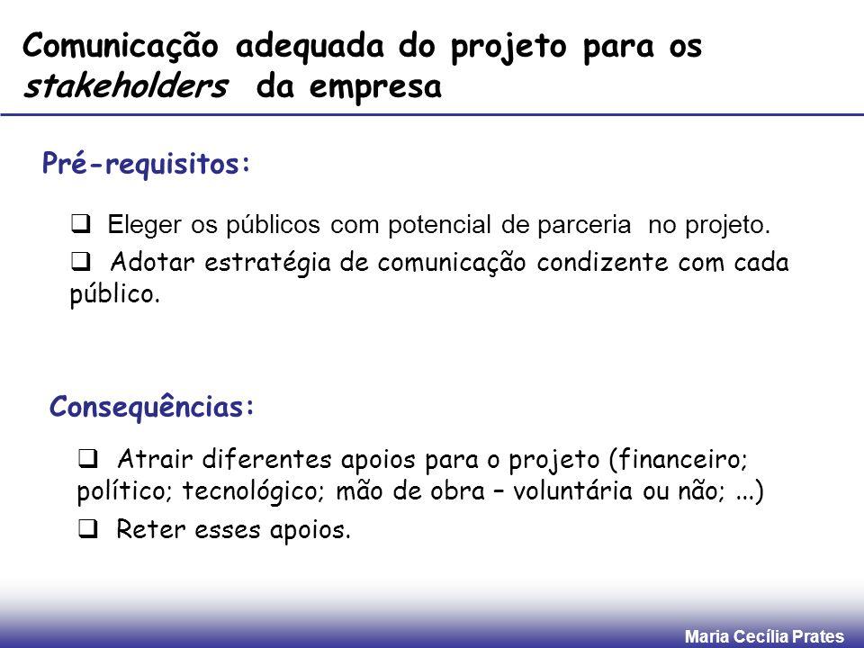 Comunicação adequada do projeto para os stakeholders da empresa