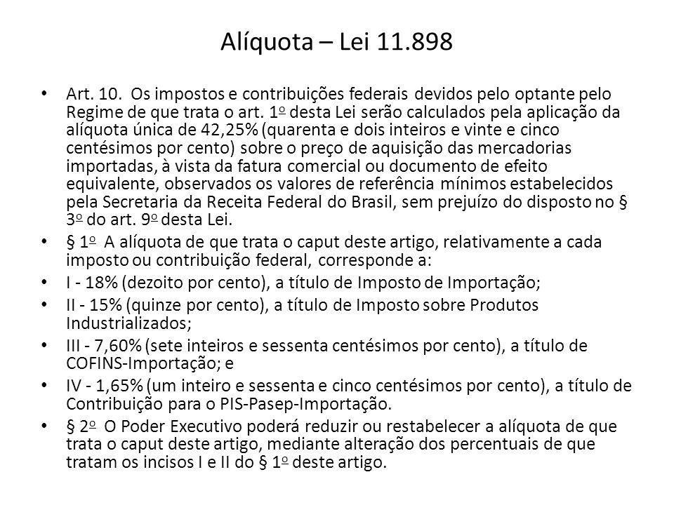 Alíquota – Lei 11.898