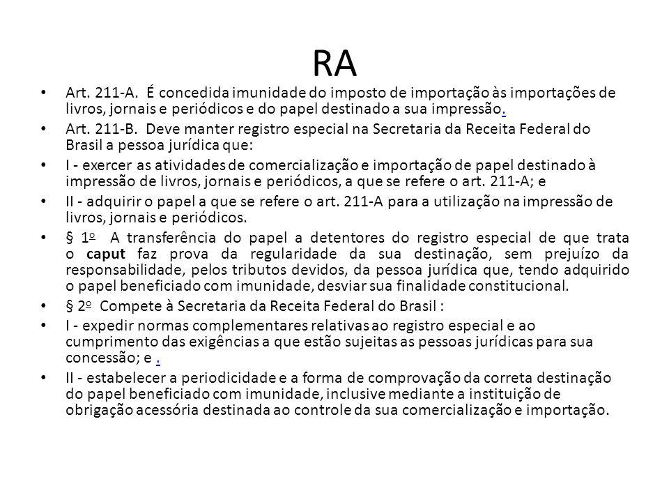 RA Art. 211-A. É concedida imunidade do imposto de importação às importações de livros, jornais e periódicos e do papel destinado a sua impressão.