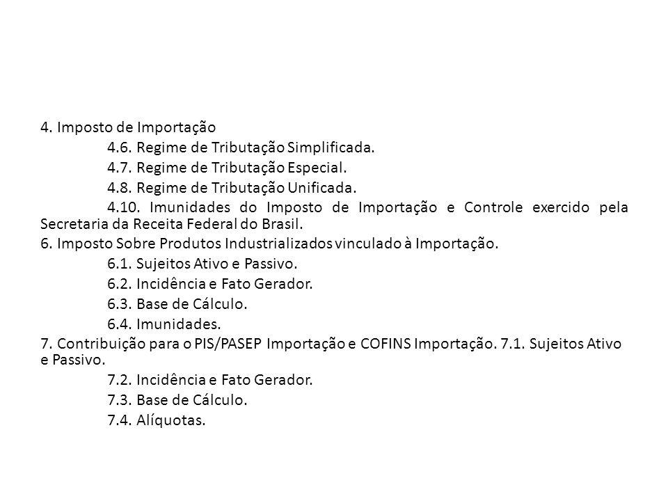 4. Imposto de Importação 4. 6. Regime de Tributação Simplificada. 4. 7