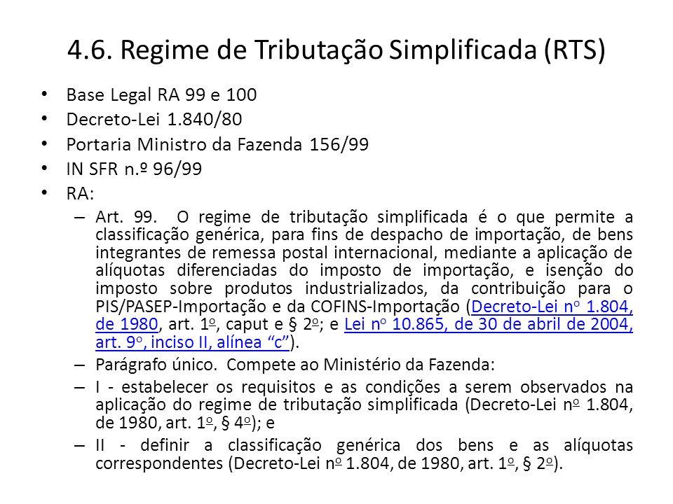 4.6. Regime de Tributação Simplificada (RTS)