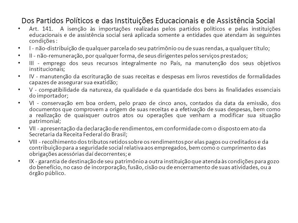 Dos Partidos Políticos e das Instituições Educacionais e de Assistência Social
