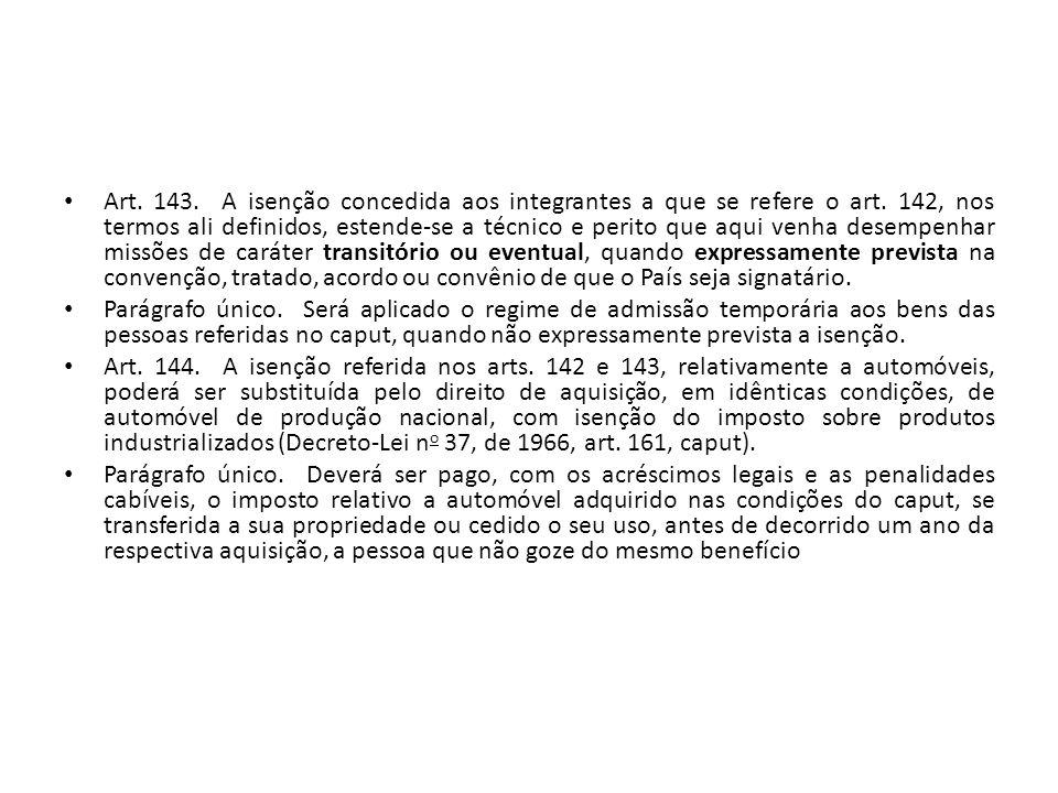 Art. 143. A isenção concedida aos integrantes a que se refere o art