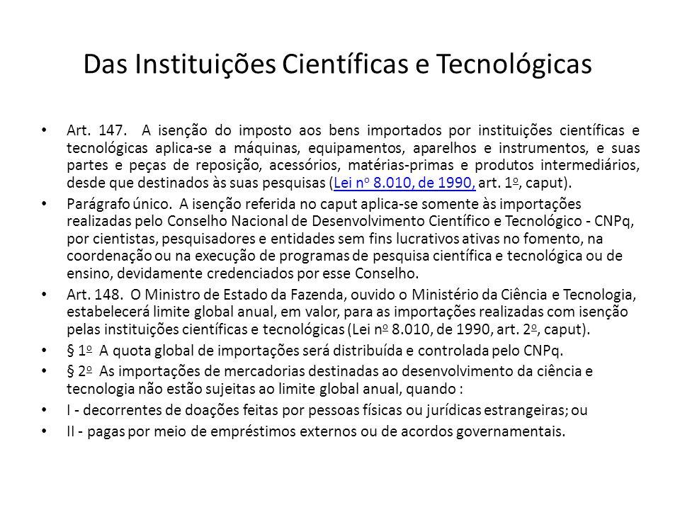 Das Instituições Científicas e Tecnológicas