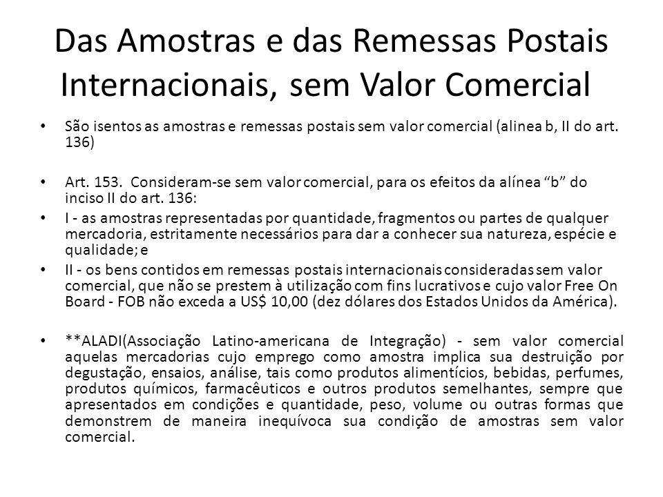 Das Amostras e das Remessas Postais Internacionais, sem Valor Comercial
