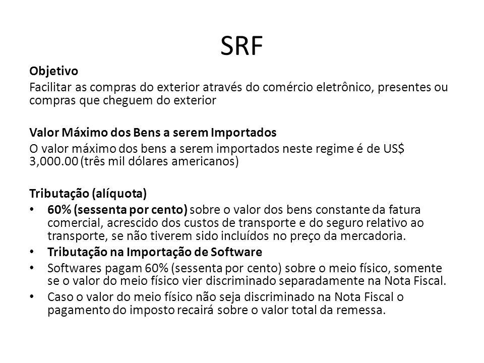 SRF Objetivo. Facilitar as compras do exterior através do comércio eletrônico, presentes ou compras que cheguem do exterior.