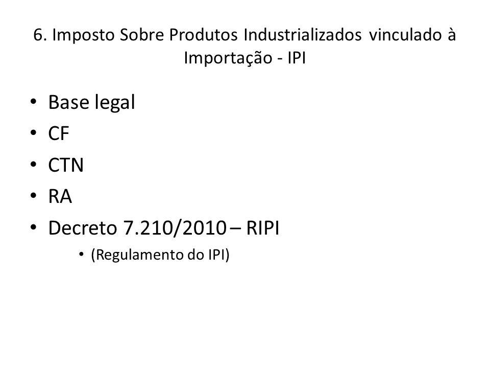 Base legal CF CTN RA Decreto 7.210/2010 – RIPI