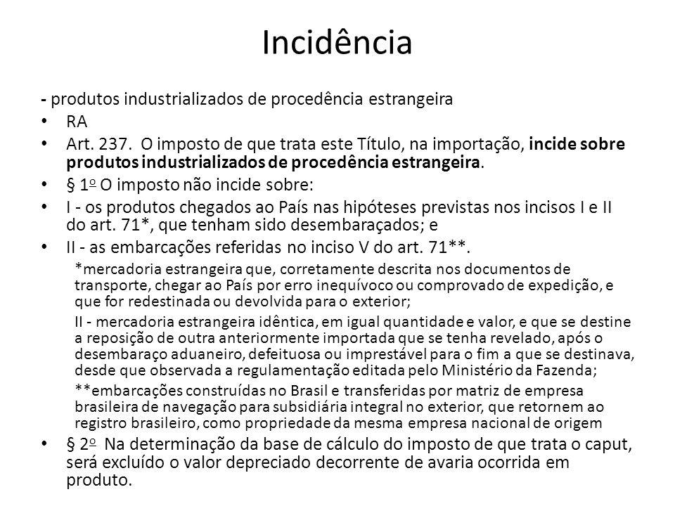 Incidência - produtos industrializados de procedência estrangeira RA