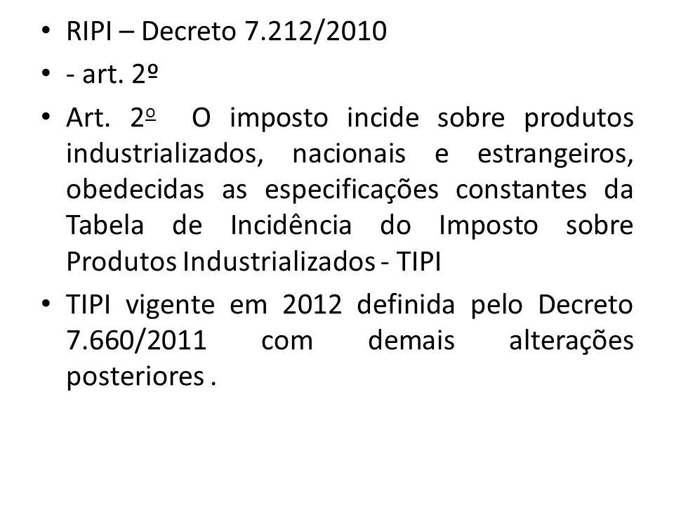 RIPI – Decreto 7.212/2010 - art. 2º.