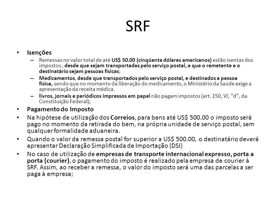 SRF Isenções Pagamento do Imposto