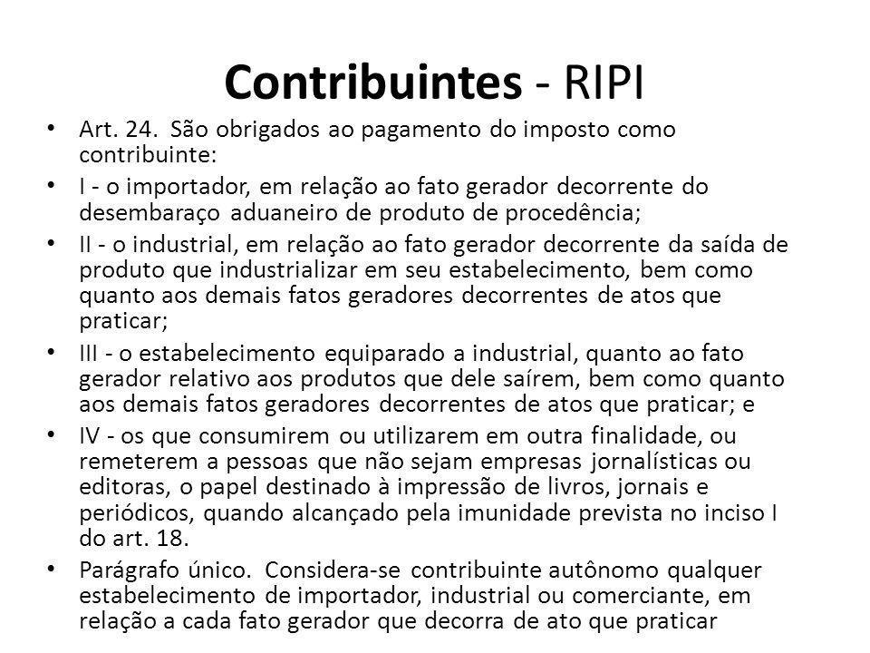 Contribuintes - RIPI Art. 24. São obrigados ao pagamento do imposto como contribuinte: