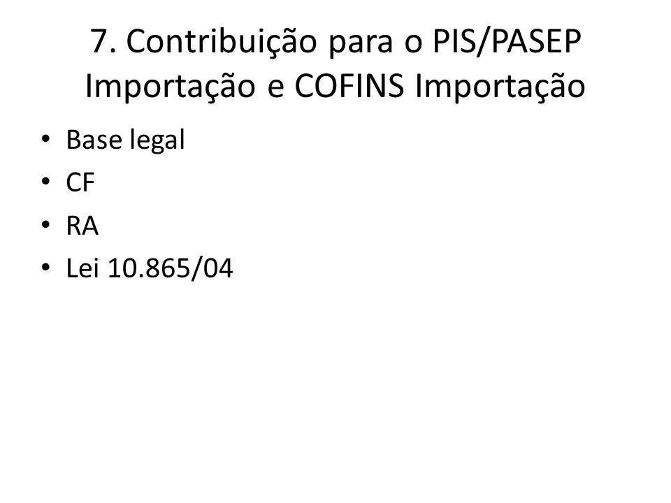 7. Contribuição para o PIS/PASEP Importação e COFINS Importação