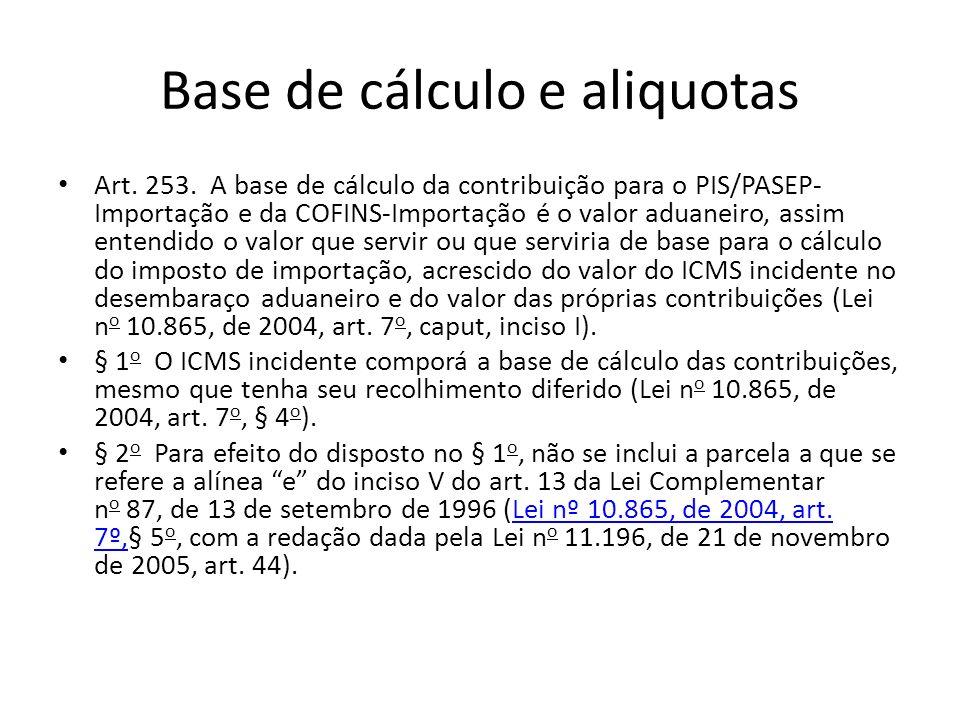 Base de cálculo e aliquotas