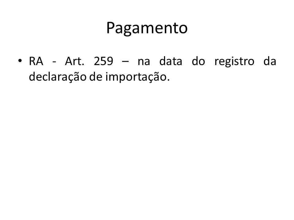 Pagamento RA - Art. 259 – na data do registro da declaração de importação.