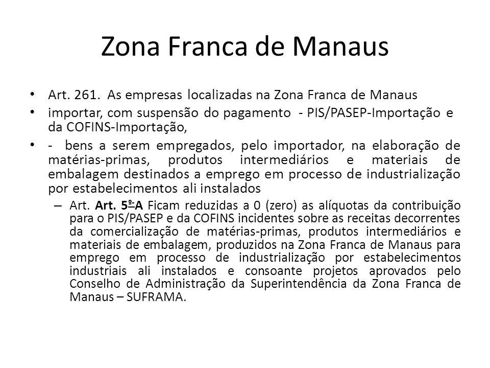 Zona Franca de Manaus Art. 261. As empresas localizadas na Zona Franca de Manaus.