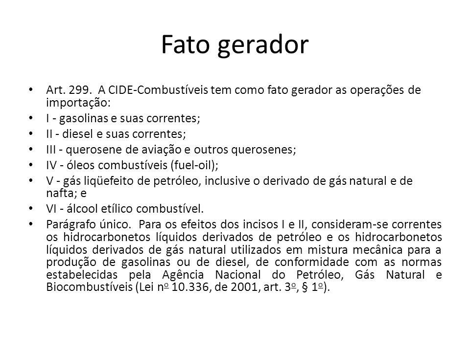 Fato gerador Art. 299. A CIDE-Combustíveis tem como fato gerador as operações de importação: I - gasolinas e suas correntes;